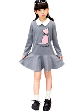 Ericdress Cat Print Lapel Hemline Knee-Length Girl's Dress