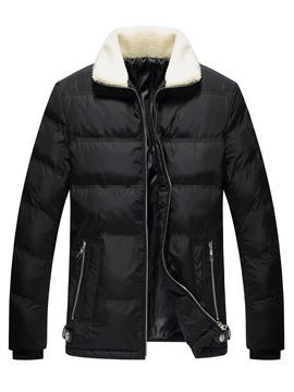 Ericdress Plain Lapel Thicken Slim Men's Winter Coat