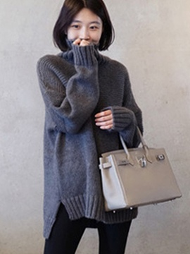 Ericdress Plain Oversized High Neck Sweater