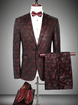 Ericdress Floral Print Notched Lapel Vogue Slim Men's Casual Suit