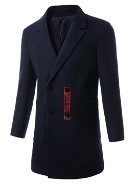 Ericdress Plain Notched Lapel Elegant Slim Men's Woolen Coat