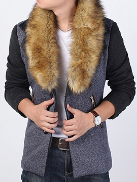 Ericdress Patchwork Faux Fur Zipper Thicken Warm Men's Woolen Coat