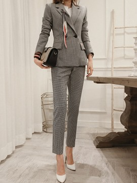 Ericdress Plaid Double-Breasted Blazer and Ankle Length Pants Women's Suit
