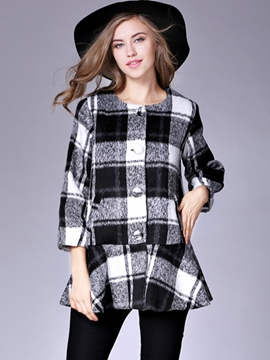 Ericdress Plaid Mid-Length Single-Breasted Coat