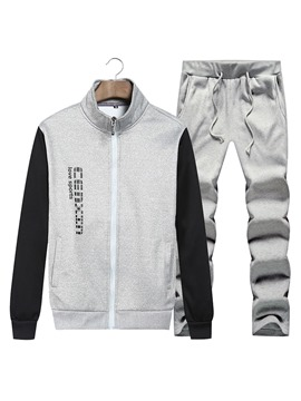 Ericdress Patchwork Zipper Casual Slim Men's Sports Suit