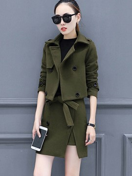 Ericdress Double-Breasted Jacket and Lace-Up Mini Skirt Women's Skirt Suit