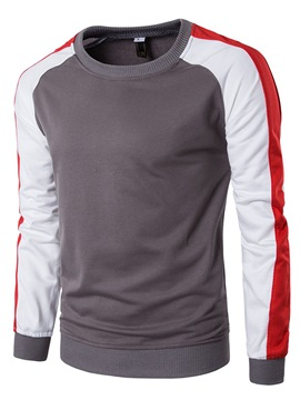 Ericdress Color Block Round Neck Casual Slim Men's Hoodie