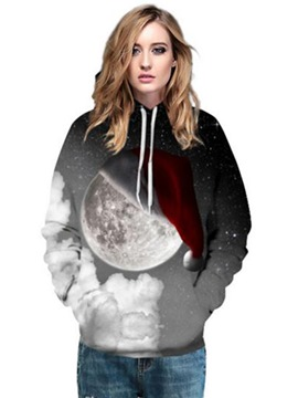 Ericdress Christmas Moon Loose Cool Hoodie