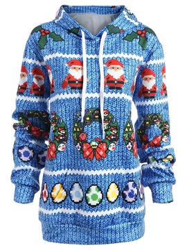 Ericdress Loose Christmas Mid-Length Cool Hoodie