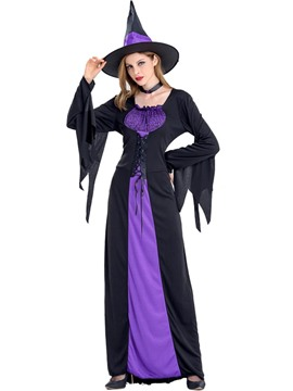 Ericdress Witch Cosplay Halloween Costume Party Color Block Maxi Dress