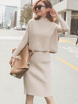 Ericdress Bodycon Dress and Vest Women's Knit Suit