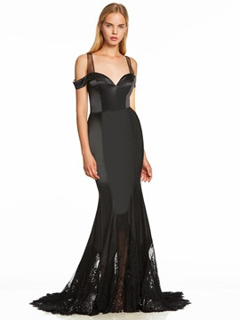 Ericdress Straps Lace Zipper-Up Mermaid Evening Dress