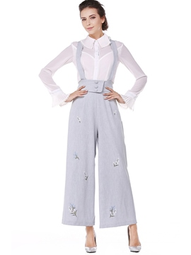 Ericdress Loose Floral Wide Leg Women's Suspender Trousers