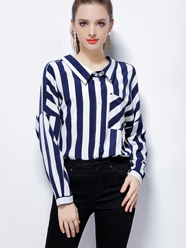 Ericdress Loose Stripe Single-Breasted Blouse