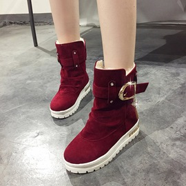 Ericdress Rhinestone Buckle Plain Women's Winter Boots