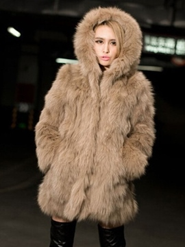 Ericdress Mid-Length Loose Feather Hooded Coat