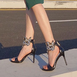 Ericdress Rhinestone Open Toe Low-Cut Stiletto Sandals
