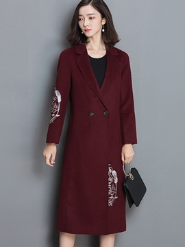 Ericdress Double-Breasted Mid-Length Embroidery Coat