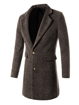 Ericdress Plain Single-Breasted Mid-Length Slim Men's Woolen Coat