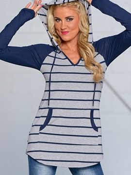 Ericdress V-Neck Stripe Patchwork Cool Hoodie