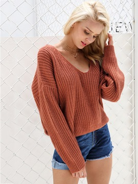 Ericdress Plain V-Neck Loose Knitwear