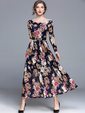 Ericdress Floral Print Belt Expansion Lace Maxi Dress