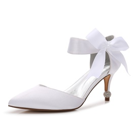Ericdress Rhinestone Slip-On Stiletto Heel Wedding Shoes with Bowknot