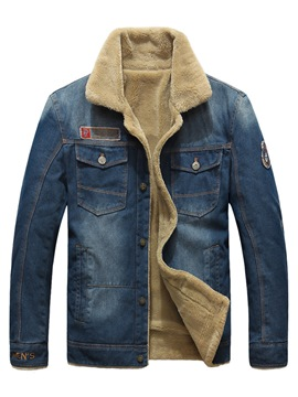 Ericdress Plain Flocking Stand Collar Denim Men's Jacket