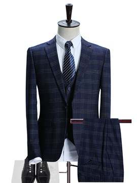 Ericdres Plaid Elegant Three-Piece Men's Suit