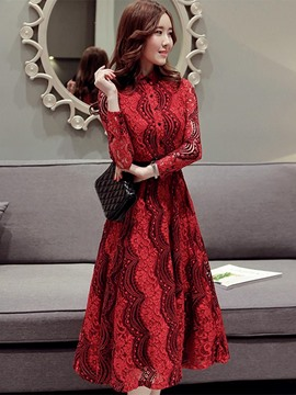 Ericdress Stand Collar Lace Long Sleeve A Line Dress