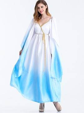 Ericdress Greek Goddess Cosplay Sleeveless Gradient Halloween Party Costume Maxi Dress