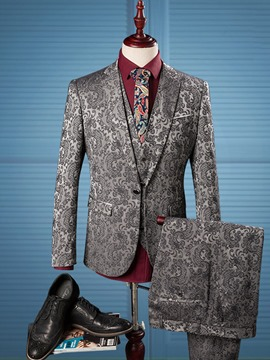 Ericdress Floral Notched Lapel Vogue Slim Men's Casual Suit