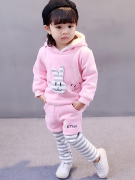 Ericdress Cute Rabbit Model Cartoon Hooded Pullover Baby Girl's Outfit
