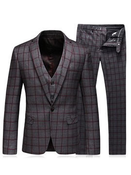 Ericdress Plaid Notched Lapel Vogue Slim Men's Casual Suit