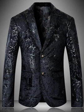 Ericdress Notched Lapel Print Slim Men's Jacket