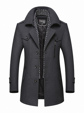 Ericdress Plain Lapel Single-Breasted Slim Fit Men's Woolen Coats