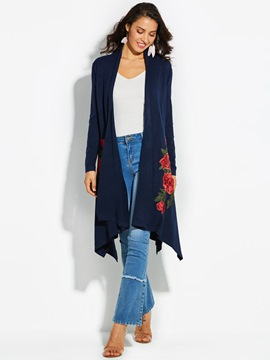 Ericdress Loose Floral Embroideried Mid-Length Knitwear