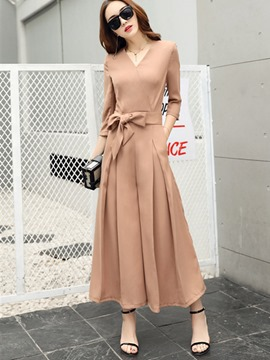 Ericdress Ankle Length Chiffon Mid-Waist Women's Jumpsuit
