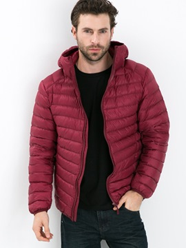 Ericdress Plain Hooded Thicken Down Zip Slim Men's Winter Coat