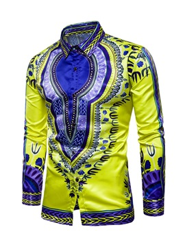 Ericdress Dashiki Color Block Single-Breasted Lapel Dashiki Slim Men's Shirt