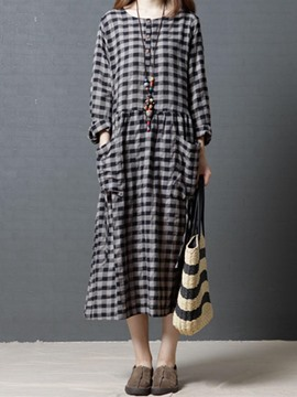 Ericdress Plaid Patchwork Pocket Casual Dress