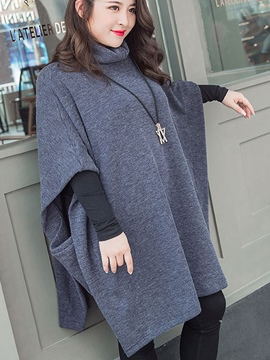 Ericdress Turtleneck Mid-Length Plain Cape