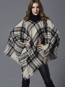 Ericdress Loose Plaid Turtleneck Cape
