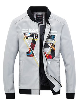 Ericdress Letter Print Zipper Unique Slim Men's Jacket