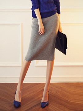 Ericdress Mid-Waist Mid-Calf Plain Women's Knit Skirt