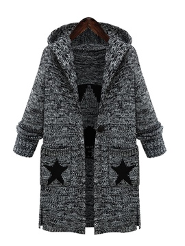 Ericdress Mid-Length Letter Star Hooded Knitwear