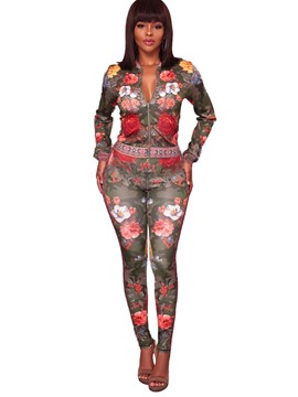 Ericdress Floral Print Zipper Jacket and Slim Pants Women's Suit