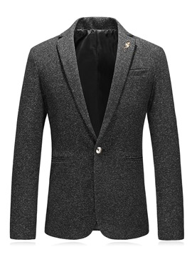 Ericdress Plain Notched Lapel Button Slim Men's Jacket