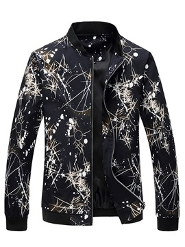 Ericdress Color Block Print Zipper Unique Slim Men's Jacket
