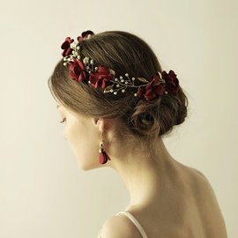 Ericdress Burgundy-Red Flower Hair Accessories for Women